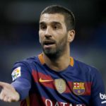 epa05100805 FC Barcelona´s Turkish midfielder Arda Turan gestures during the Spanish King's Cup round 16 second leg soccer match against RCD Espanyol played at Power8 Stadium in Cornella-El Prat, Barcelona, Spain, 13 January 2016.  EPA/ALEJANDRO GARCIA