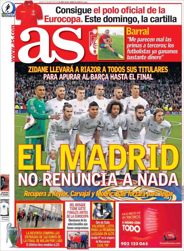 عناوین روزنامه آ.اس اسپانیا23 اردیبهشت 95