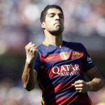 FC Barcelona's Luis Suarez celebrates goal during La Liga match. May 14,2016.