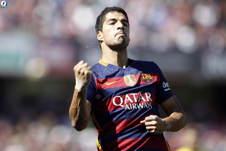 FC Barcelona's Luis Suarez celebrates goal during La Liga match. May 14,2016.