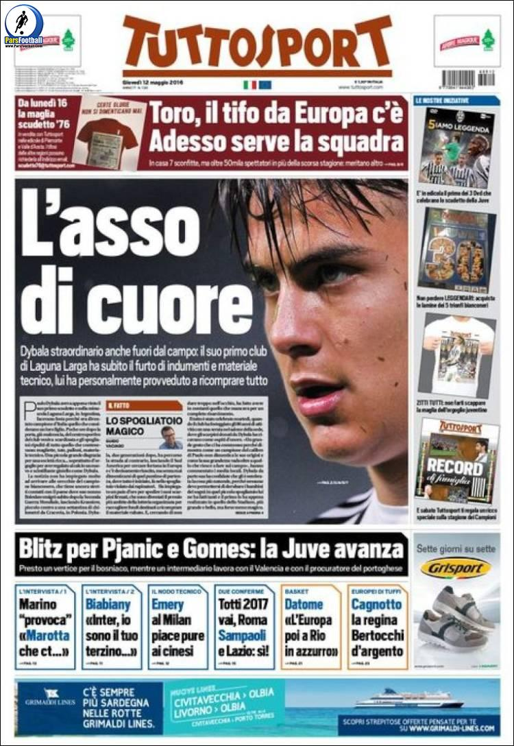 عناوین روزنامه توتو اسپورت ایتالیا 23 اردیبشت95