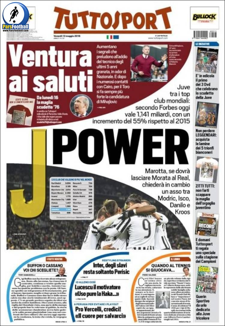 عناوین روزنامه توتو اسپورت ایتالیا 24 اردیبشت95