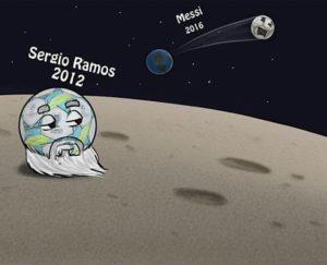 جاگیری توپ راموس و مسی در ماه و کهکشان