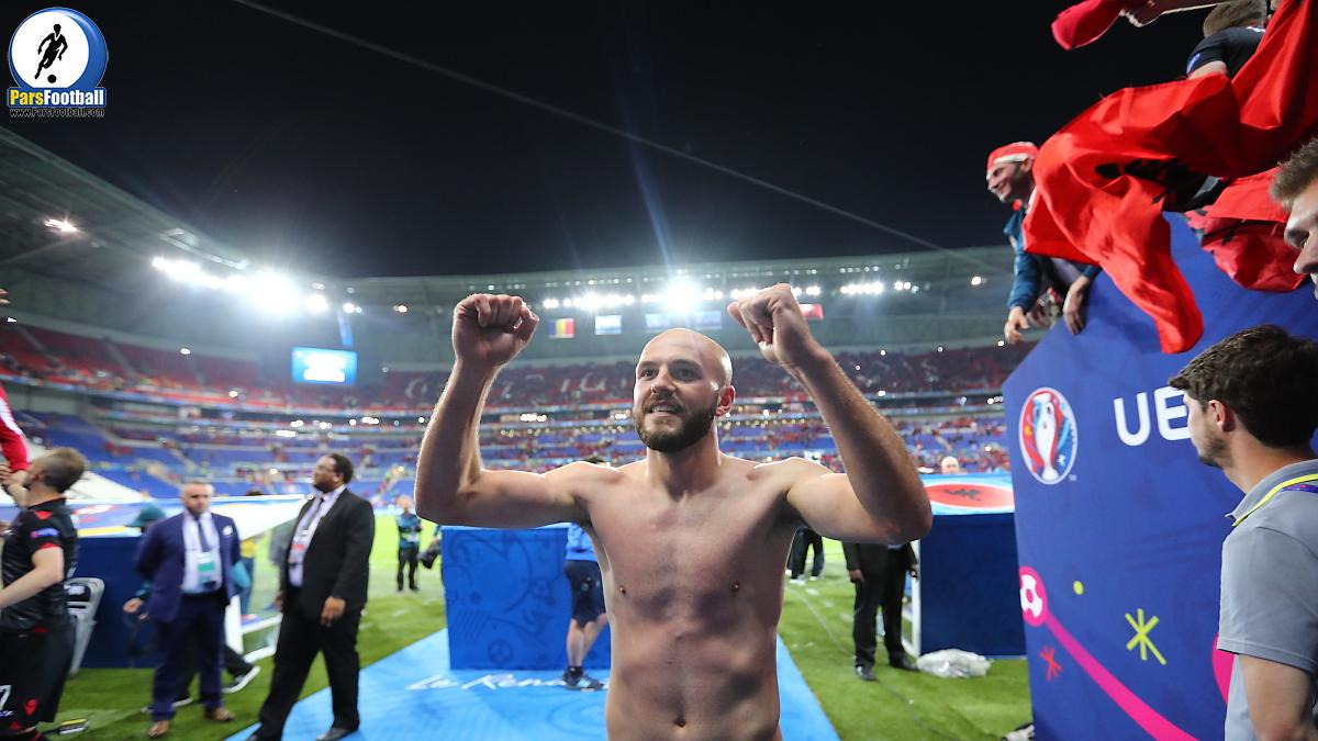 Arlind Ajeti of Albania celebrates after the UEFA Euro 2016 Group A match between Romania and Albania