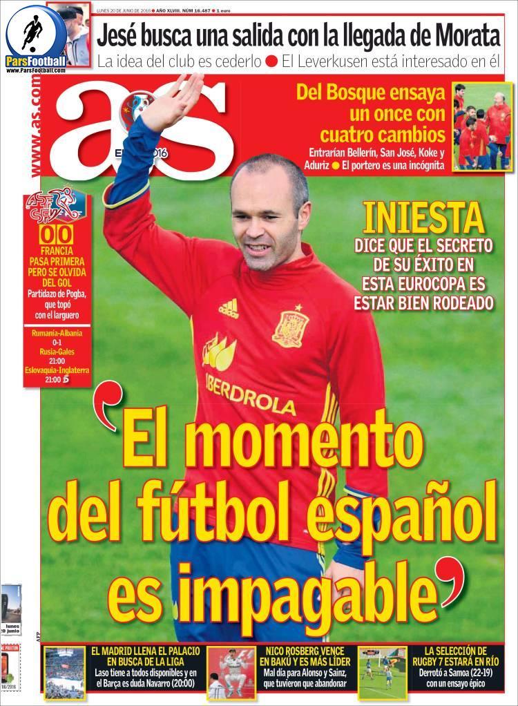 عناوین روزنامه آ.اس اسپانیا 1تیر 95