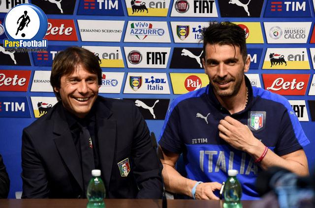MALTA, MALTA - MAY 28: Head Coach Italy Antonio Conte (L) and Gianluigi Buffon during a press conference at Ta Qali Stadium on May 28, 2016 in Malta, Malta. (Photo by Claudio Villa/Getty Images)