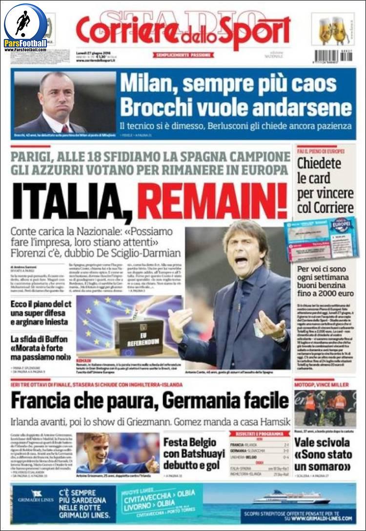 عناوین روزنامه کوریره دلو اسپورت ایتالیا 7 تیر 95