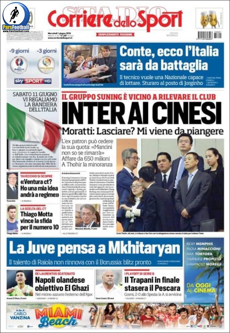 عناوین روزنامه کوریره دلو اسپورت ایتالیا 12 خرداد 95