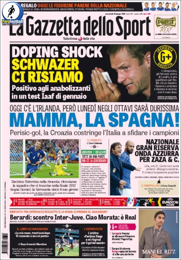 عناوین روزنامه گازتا دلو اسپورت ایتالیا 2 تیر 95