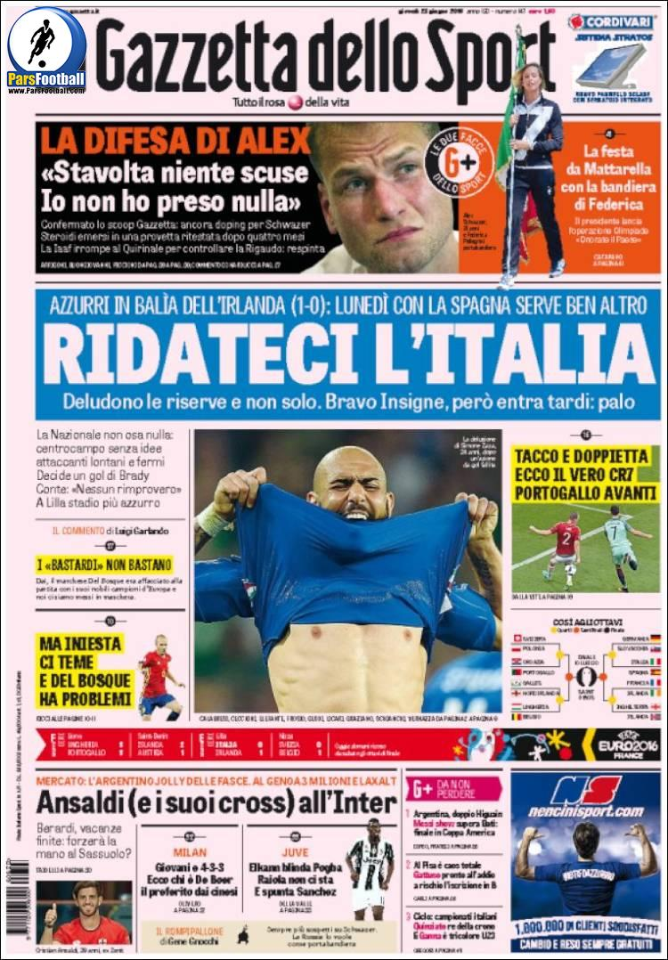 عناوین روزنامه گازتا دلو اسپورت ایتالیا 3 تیر 95