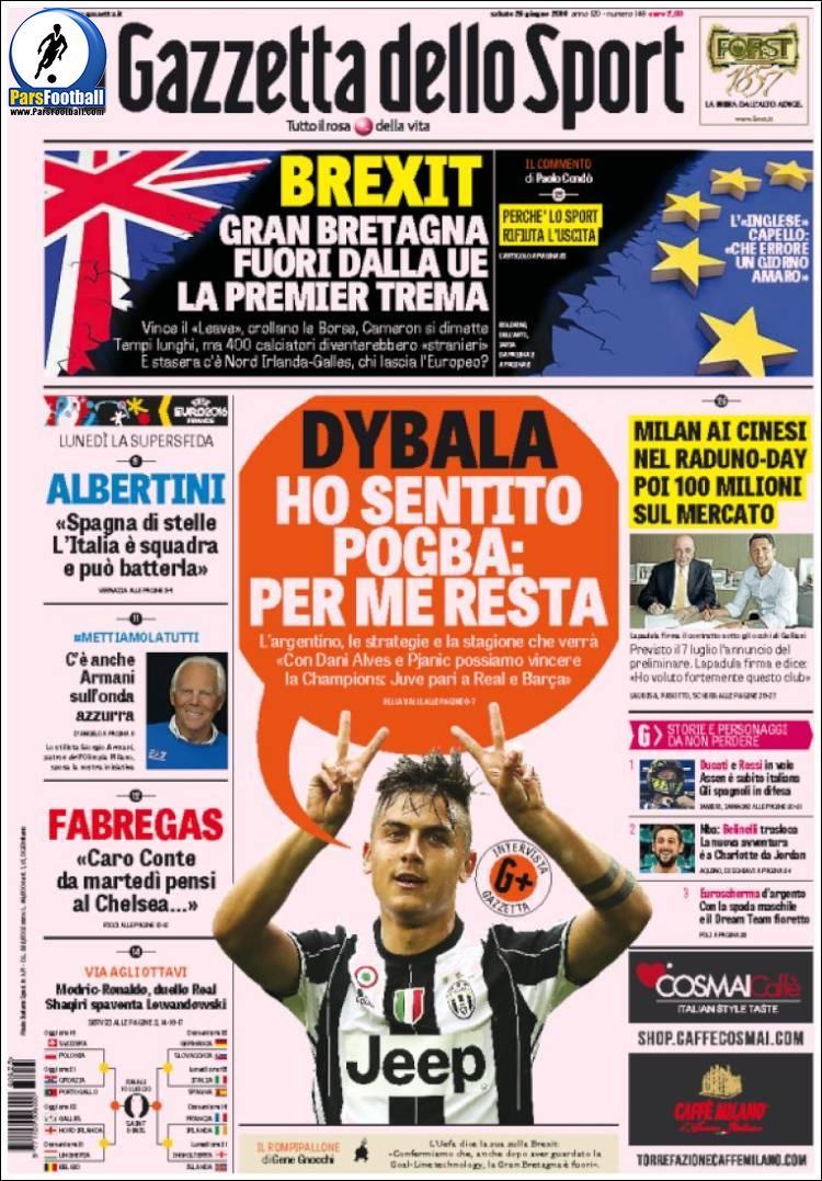 عناوین روزنامه گازتا دلو اسپورت ایتالیا 5 تیر 95
