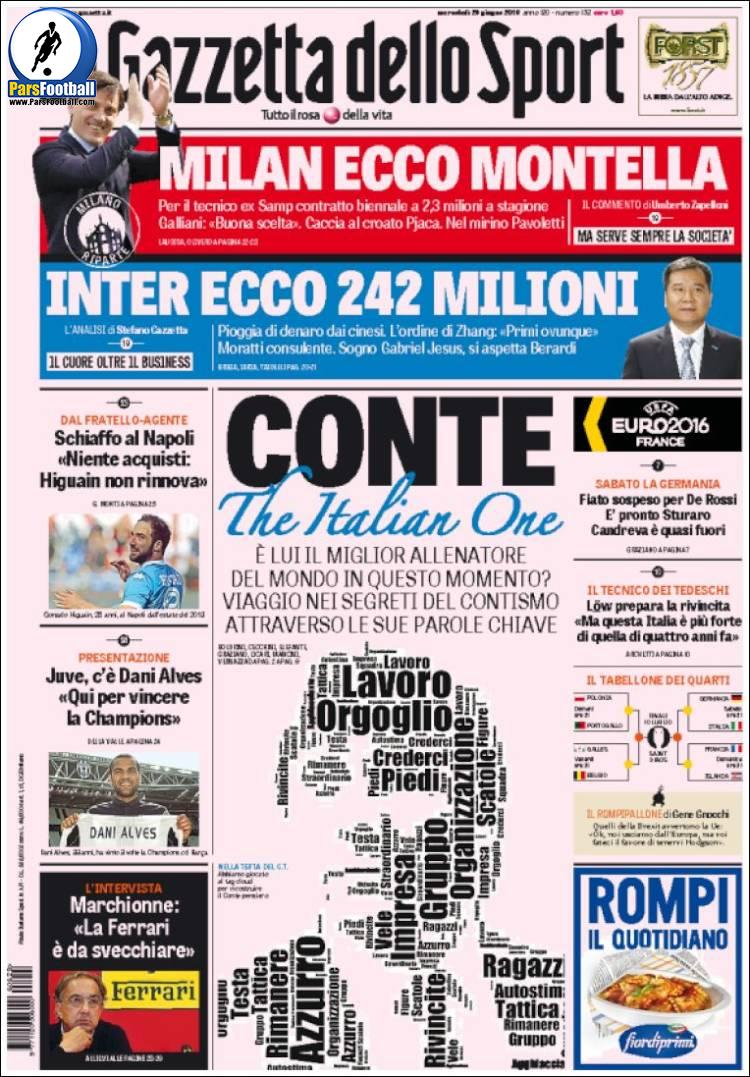 عناوین روزنامه گازتا دلو اسپورت ایتالیا 9 تیر 95