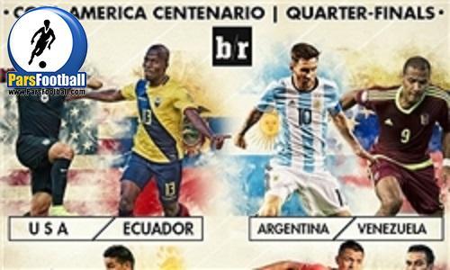 کوپا آمهریکا 2016 پرونده مرحله یک هشتم نهایی رقابتهای کوپا آمریکا 2016 بسته شد تا تمام تیمها حریفان خود را برای مرحله یک چهارم نهایی بشناسند. [Image]به گزارش مشرق، با برگزاری دیدار آرژانتین مقابل بولیوی رونده مرحله یک هشتم نهایی کوپا آمریکا 2016 بسته شد و هشتم تیم باقی مانده حریفان خود را در مرحله یک چهارم شناختند: آمریکا - اکوادور —------- جمعه 26 خرداد ساعت 06:00 بامداد پرو - کلمبیا —------- شنبه 27 خرداد ساعت 04:30 بامداد آرژانتین - ونزوئلا —------- یکشنبه 28 خرداد ساعت 03:30 بامداد مکزیک - شیلی —------- یکشنبه 28 خرداد ساعت 06:30 بامداد مطالب مرتبط ادامه کولاک آرژانتین در کوپا آمه ریکا جانشین دونگا در تیم ملی برزیل مشخص شد اخراج دونگا حاصل حذف برزیل از کوپا آمهریکا حمایت نیمار از تیم دونگا با چاشنی بیاحترامی فیلم/ اروگوئه 3 - جامائیکا صفر برچسب ها: برنامه کامل ، مرحله یک چهارم نهایی کوپا آمه ریکا ، کوپا آمه ریکا 2016 ، کوپا آمریکا 2016 ، آرژانتین نظر شما نام: ایمیل: * نظر: پربازدیدترینها / پربحث ترین ها استانداران چقدر حقوق میگیرند؟/ دریافتی 520 میلیونی مدیر بانک رفاه در 6 ماه/ دستور جدید دولت درباره مالیات پزشکان عکس/ خانهای منحصربفرد در قلب تهران تنها راه پرسپولیس برای بازگرداندن یاغی از استقلال کاهش نرخ سود سپرده ممنوع آخرین شکار بزرگ پرسپولیس ارزیابی «توان» آمریکا برای وارد کردن ضربهی اول به ایران كشف دستیار دنیزلی در استقلال +کارنامه پاسخ واشنگتن به اظهارات ظریف در اسلو عکس/ دردسر بزرگ استقلال آخرین اخبار گوشیهای قاچاق در جیب برخی مسئولان/ خورشیدی: تکذیب میکنیم الوند: مهرانفر شخصیت «علیالبدل» را بازی میکند عکس/ جشن تولد ترامپ در هند نیمار از هواداران برزیل عذرخواهی کرد حذف تیراندازان ایران در مرحله نخست پيكر پدر شعر انقلاب در زادگاهش به خاک سپرده شد مشارکت آستان قدس رضوی در برگزاری مسابقه ادبی «حافظان حرم» کربی: حمایت ایران از تروریست تجارت را مختل میکند 4 مدال رنگارنگ، نتیجه تیراندازان در تورنمنت فرانسه سرانجام اموال میلیاردی قاچاقچیان موادمخدر فیلم/ انتقاد روحانی از تعطیلی پارس الکتریک در مناظره تماشاگر ویژه تمرین سرخپوشان تمجید سرمربی کاراته سوئد از کادر فنی تیم ایران کار با وزنه بلندقامتان برای رفع خستگی صيانت از بيتالمال در قراردادهای فوتبال کشف انبار 