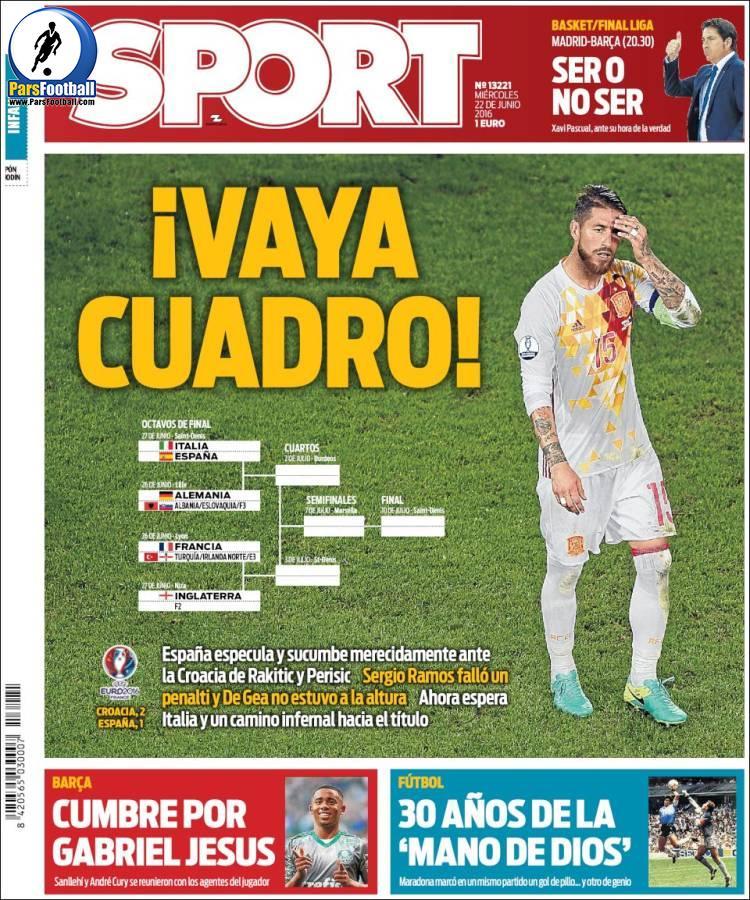 عناوین روزنامه اسپورت اسپانیا 2 تیر 95