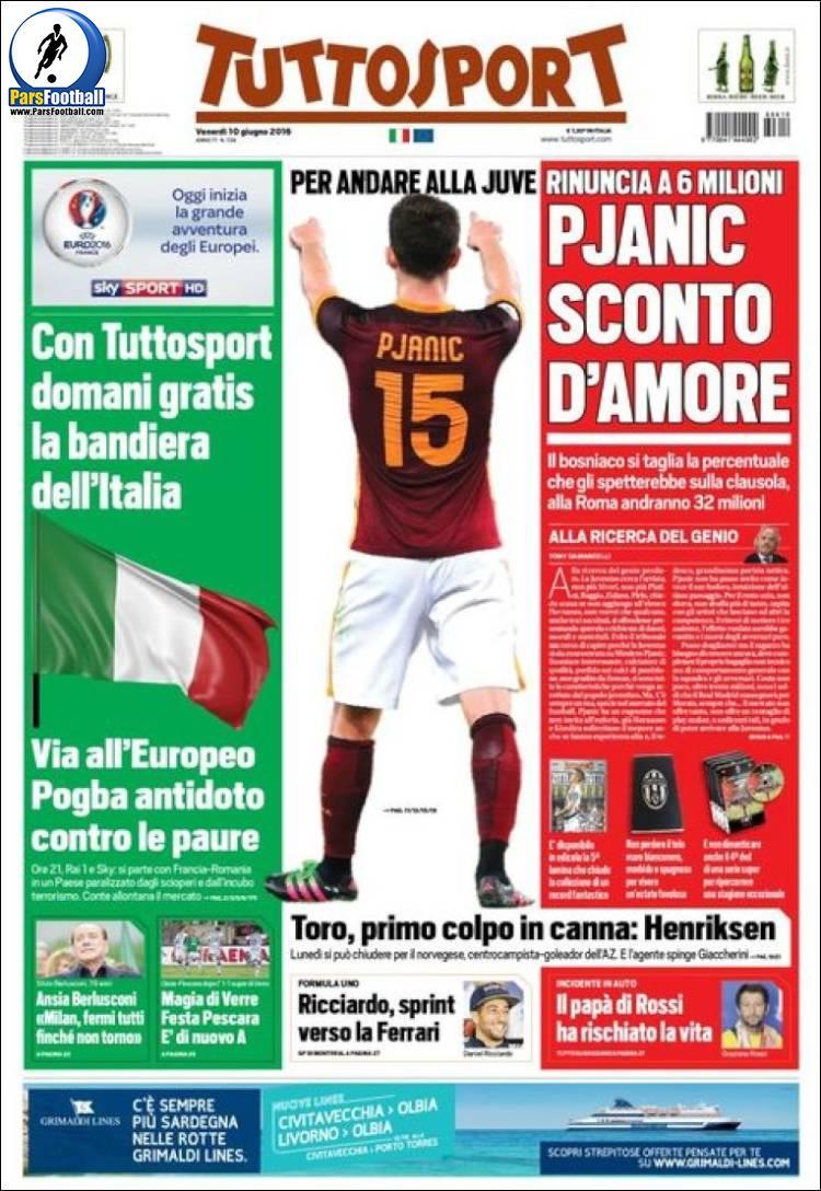 عناوین روزنامه توتو اسپورت ایتالیا21 خرداد 95