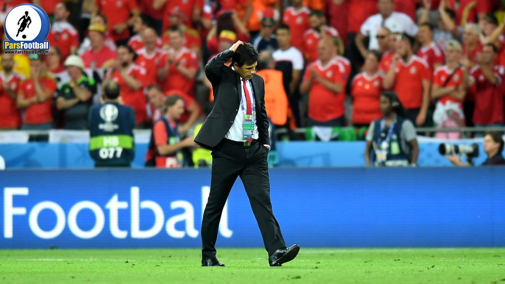 LYON, FRANCE - JULY 06:  Chris Coleman manager of Wales reacts to defeat on the pitch after the UEFA EURO 2016 semi final match between Portugal and Wales at Stade des Lumieres on July 6, 2016 in Lyon, France.  (Photo by Michael Regan/Getty Images)