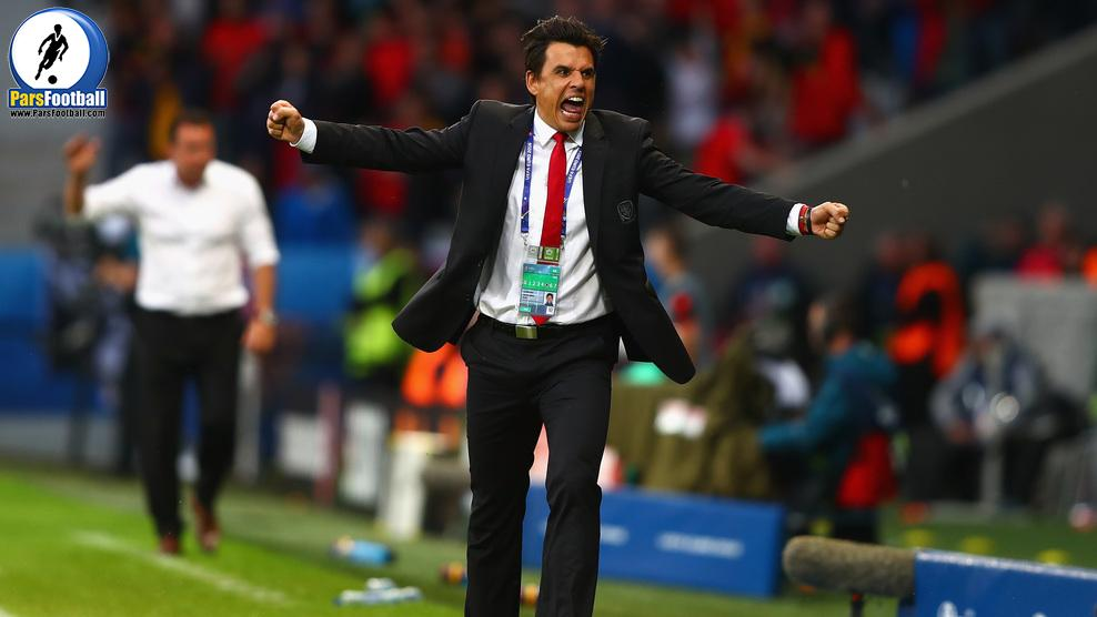 LILLE, FRANCE - JULY 01:  Chris Coleman manager of Wales celebrates his team's first goal during the UEFA EURO 2016 quarter final match between Wales and Belgium at Stade Pierre-Mauroy on July 1, 2016 in Lille, France.  (Photo by Clive Rose/Getty Images)