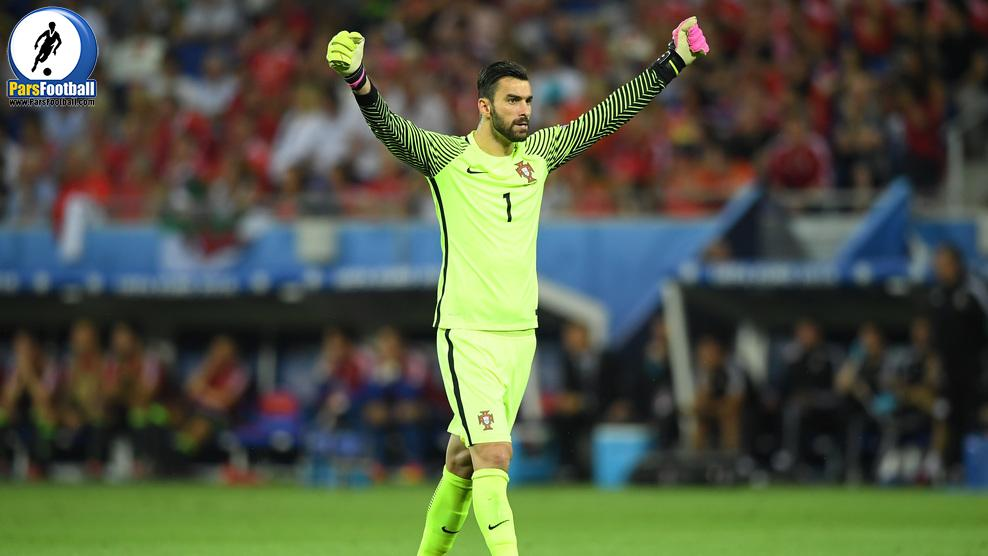LYON, FRANCE - JULY 06: Rui Patricio of Portugal celebrates his team's first goal during the UEFA EURO 2016 semi final match between Portugal and Wales at Stade des Lumieres on July 6, 2016 in Lyon, France.  (Photo by Matthias Hangst/Getty Images)