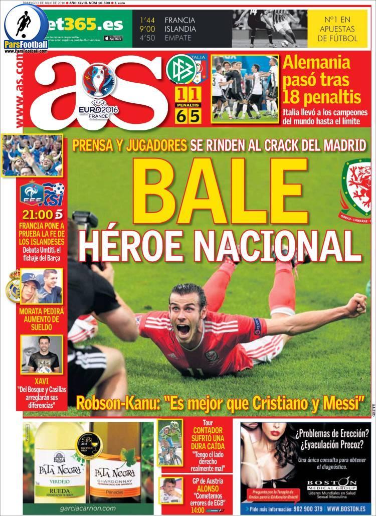 عناوین روزنامه آ.اس اسپانیا 13 تیر 95
