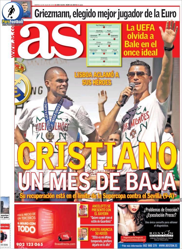 عناوین روزنامه آ.اس اسپانیا 22 تیر 95