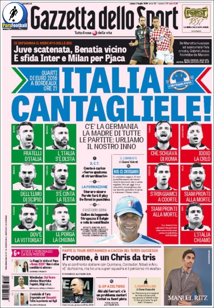 عناوین روزنامه گازتا دلو اسپورت ایتالیا 12 تیر 95