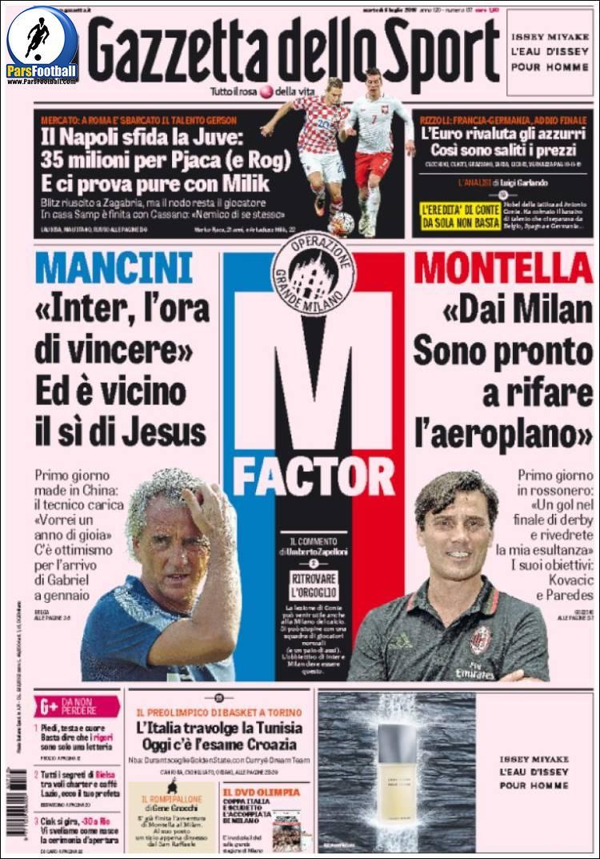عناوین روزنامه گازتا دلو اسپورت ایتالیا 15 تیر 95