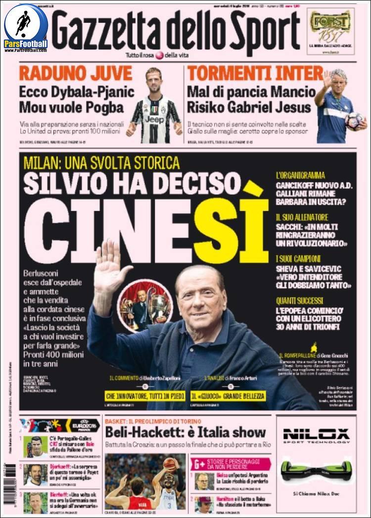 عناوین روزنامه گازتا دلو اسپورت ایتالیا 16 تیر 95