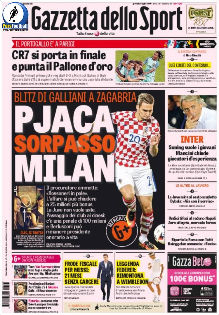 عناوین روزنامه گازتا دلو اسپورت ایتالیا 17 تیر 95
