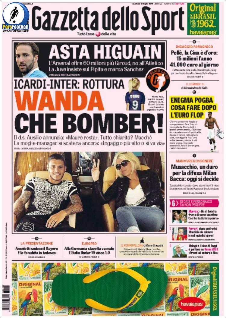 عناوین روزنامه گازتا دلو اسپورت ایتالیا 22 تیر 95