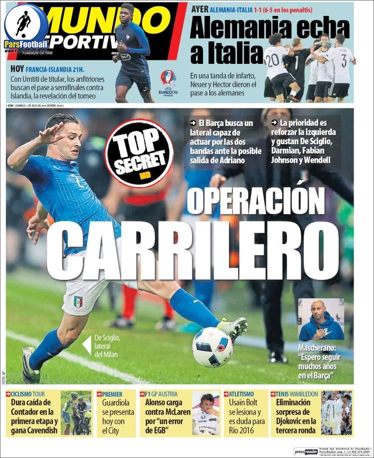 عناوین روزنامه ال موندو دپورتیوو اسپانیا 13 تیر 95