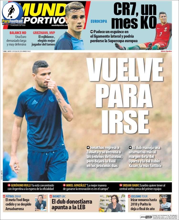 عناوین روزنامه ال موندو دپورتیوو اسپانیا 22 تیر 95