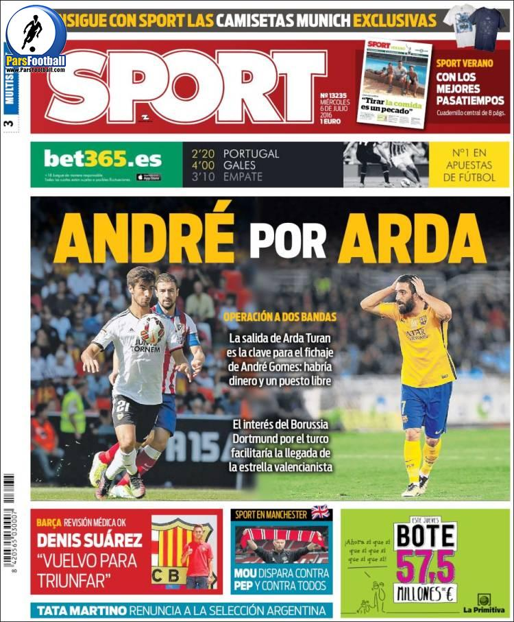 عناوین روزنامه اسپورت اسپانیا 16 تیر 95