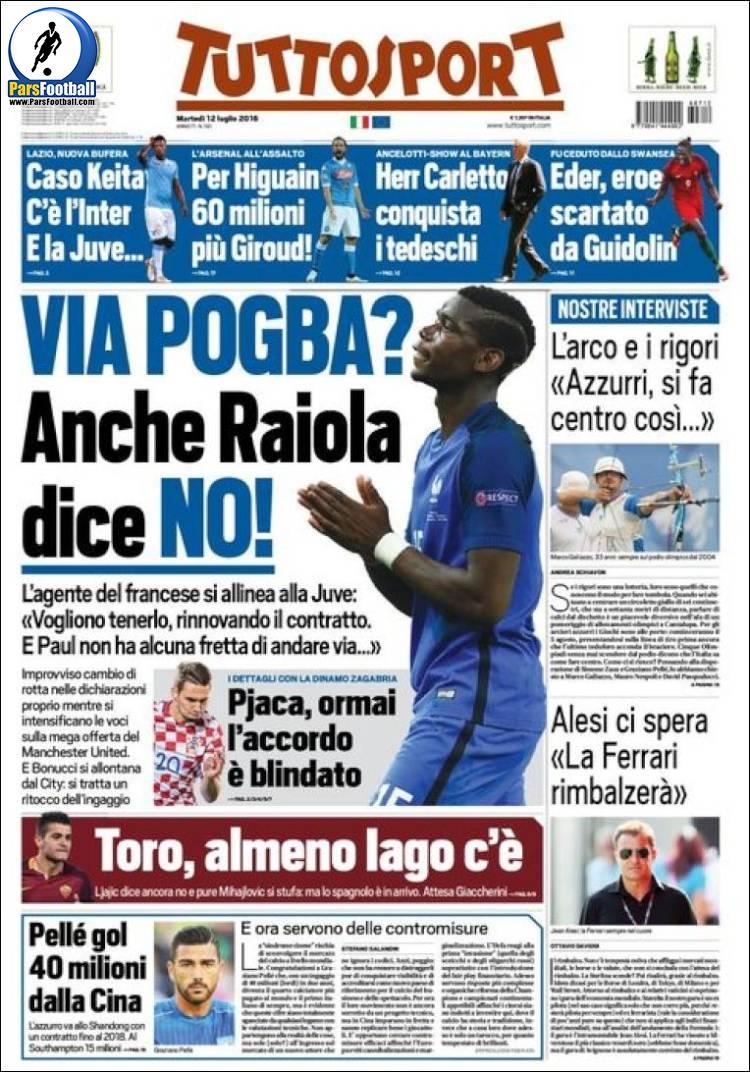 عناوین روزنامه توتو اسپورت ایتالیا 22 تیر 95