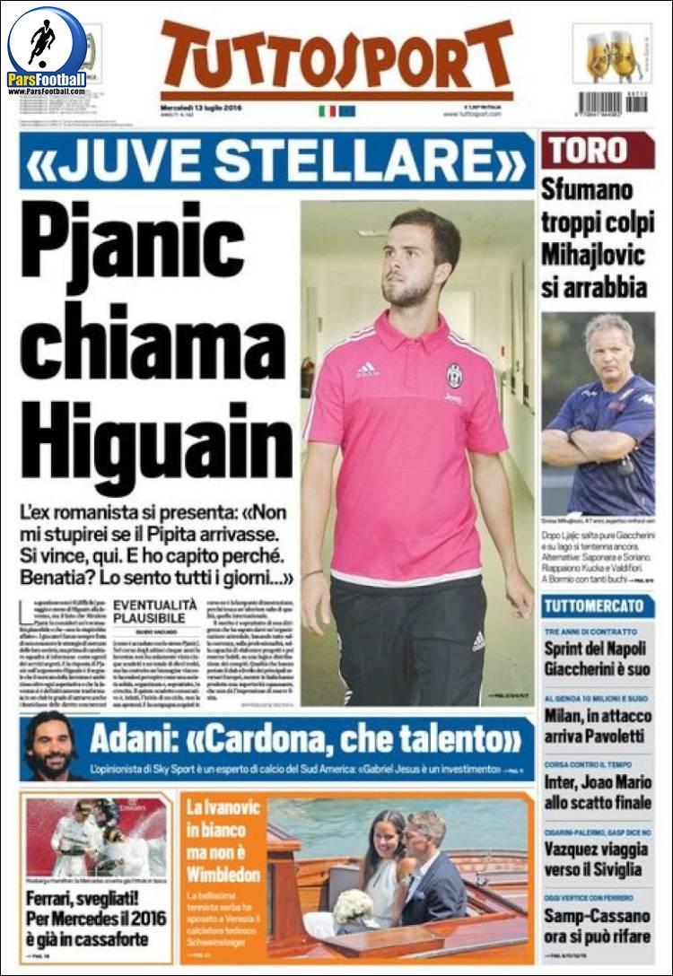 عناوین روزنامه توتو اسپورت ایتالیا 23 تیر 95