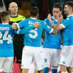 Napoli's Spanish forward Jose Maria Callejon (2ndR) celebrates with teammates after scoring with teammates during the Italian Serie A football match SSC Napoli vs AC Chievo Verona on March 4, 2016 at the San Paolo stadium in Naples. / AFP / CARLO HERMANN        (Photo credit should read CARLO HERMANN/AFP/Getty Images)
