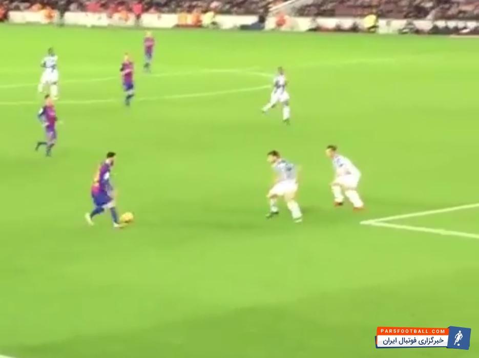 کلیپی از گل زیبای بارسلونا روی حرکت لیونل مسی به اسپانیول در بازی های لالیگا از نمایی دیگر