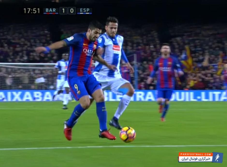 کلیپی از گل اول بارسلونا به اسپانیول در بازی های لالیگای اسپانیا 28 آذر 95 ؛ پارس فوتبال