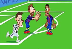 انیمیشن طنز بازی یوونتوس در مقابل بارسلونا در لیگ قهرمانان اروپا