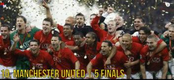 برترین تیم ها از لحاظ حضور در فینال لیگ قهرمانان اروپا
