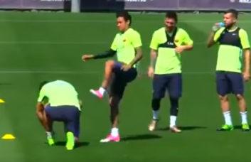 شوخی های نیمار در تمرینات بارسلونا