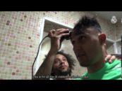 مارسلو و تراشیدن موهای دروازه بان رئال مادرید