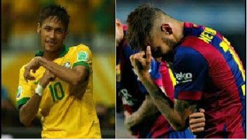 خوشحالی های بعد از گل نیمار مهاجم بارسلونا