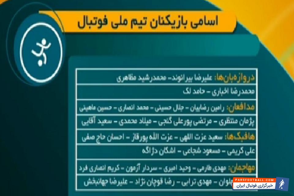 تیم ملی فوتبال ایران در انتخابی جام جهانی ؛ ایران-ازبکستان؛ ملی پوشان ایران مشخص شدند