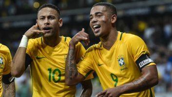 نیمار و ژسوس در تمرینات تیم ملی برزیل