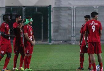 پنالتی زدن بازیکنان پرسپولیس با چشمان بسته در تمرینات عصر یکشنبه در دوبی