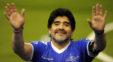 مارادونا مهمان ویژه دیدار دو تیم فوتبال تاتنهام برابر لیورپول که در ورزشگاه ومبلی برگزار شد بود