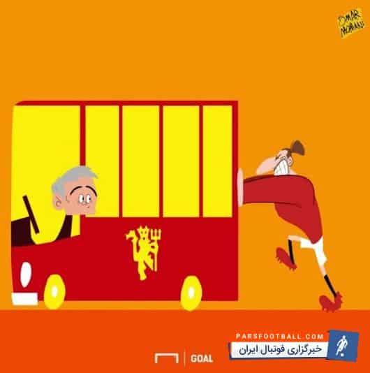 کاریکاتور ؛ زور زلاتان هم برای روشن کردن اتوبوس مورینیو کافی نیست!