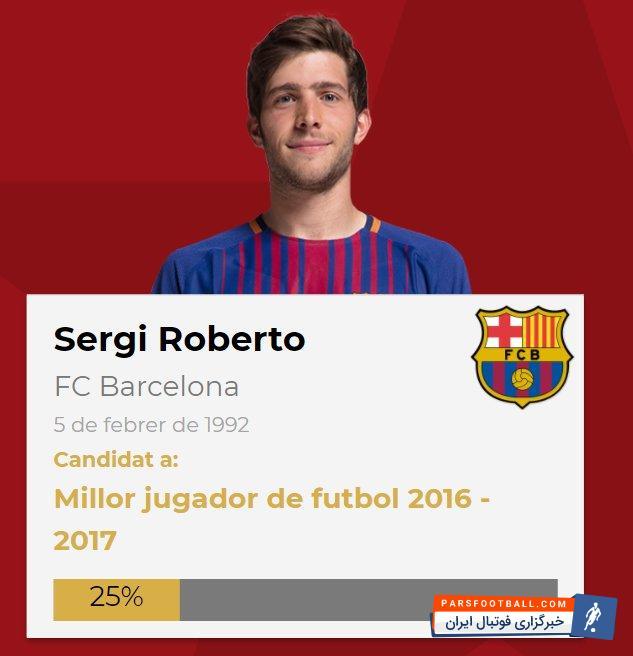 روبرتو بازیکن جوان تیم فوتبال بارسلونا برترین بازیکن کاتالونیایی این تیم در فصل 2016/17 شد