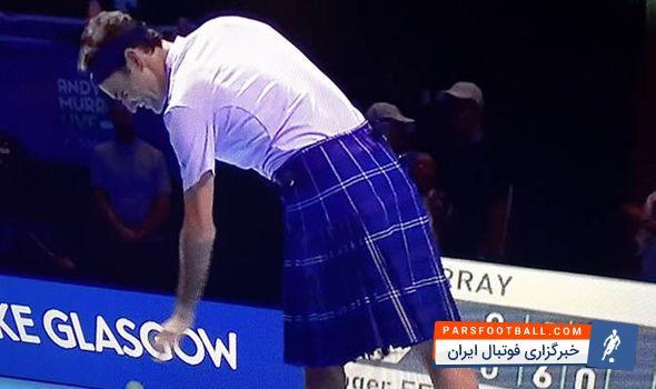 تصاویر جالبی از تنیس بازی کردن راجر فدرر در حالی که دامن اسکاتلندی به پا دارد