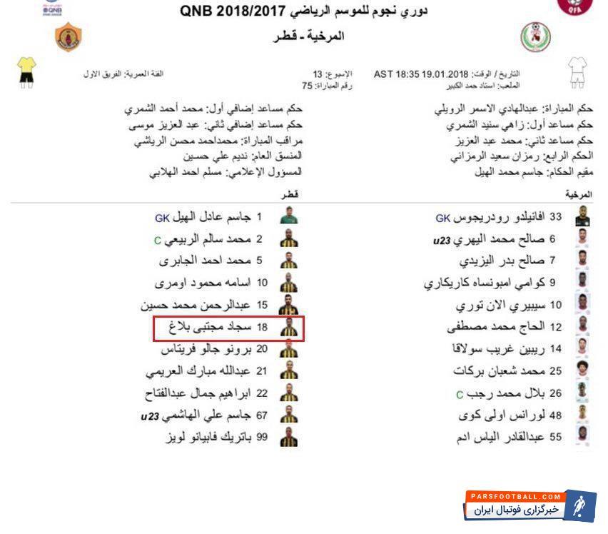 عکس ؛ وضعیت سجاد شهباززاده در دیدار با المرخیه قطر